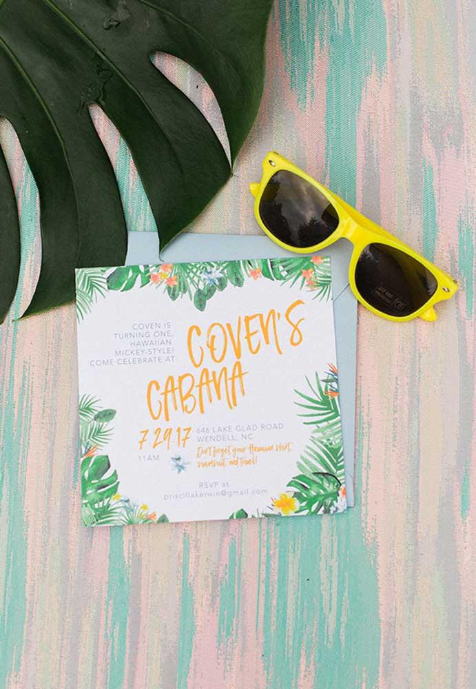 Prepare o convite festa na piscina seguindo o ritmo do evento.