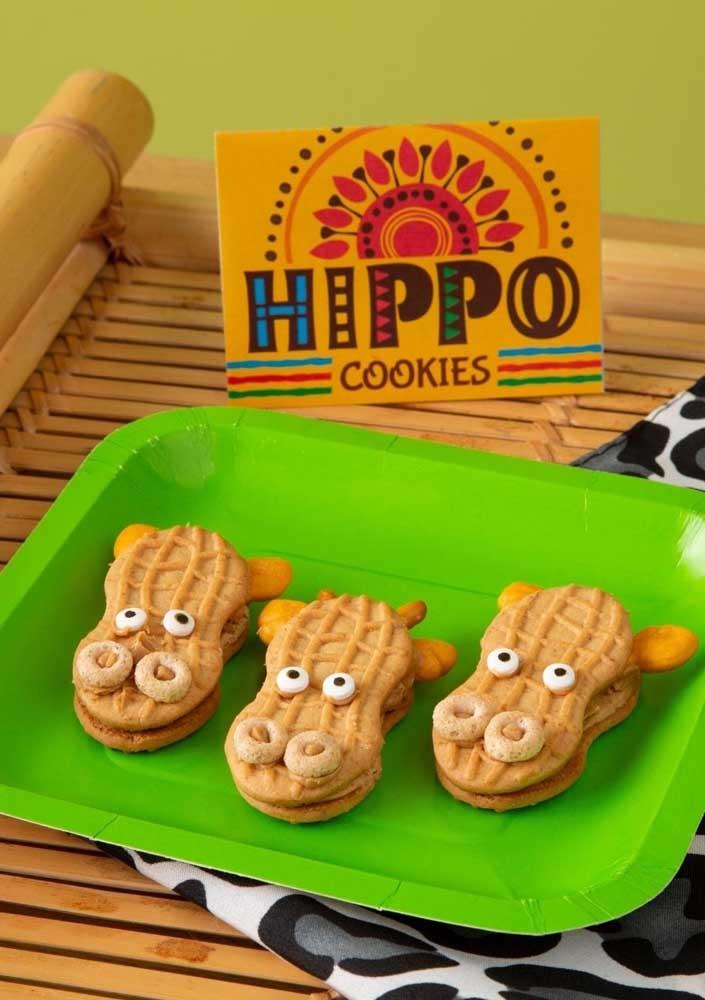 Cookies com carinhas de hipopótamos!