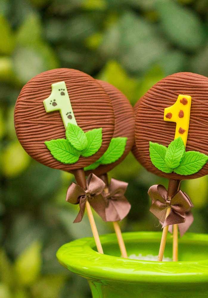 Pirulitos de chocolate para a festa safári de 1 ano