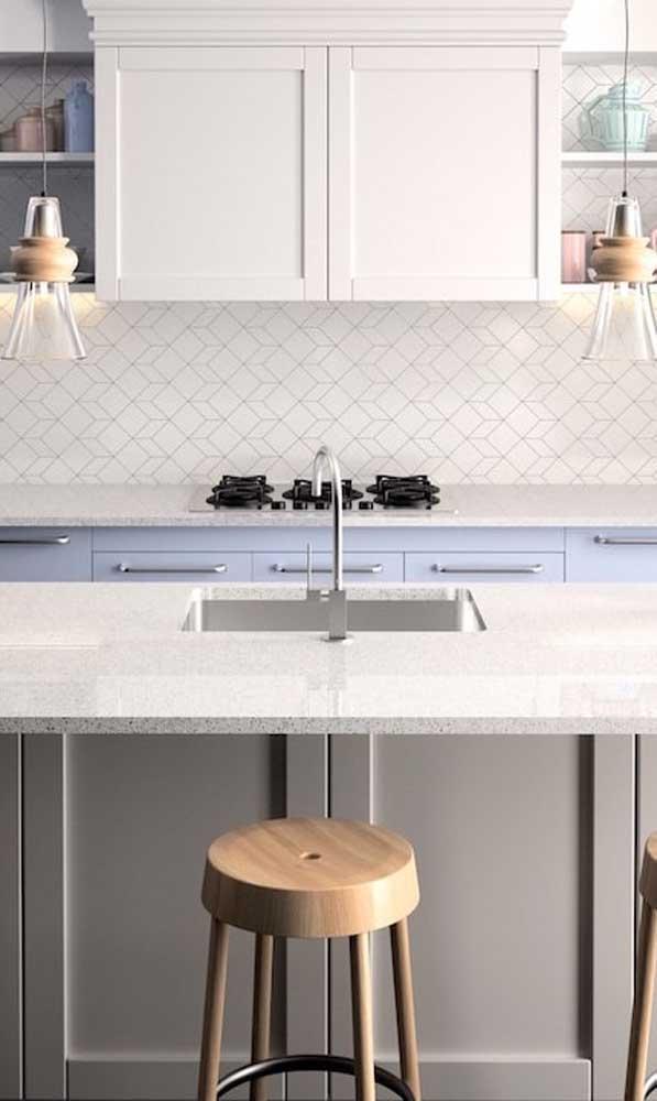 Você sabe identificar onde o nanoglass foi aplicado nessa cozinha?
