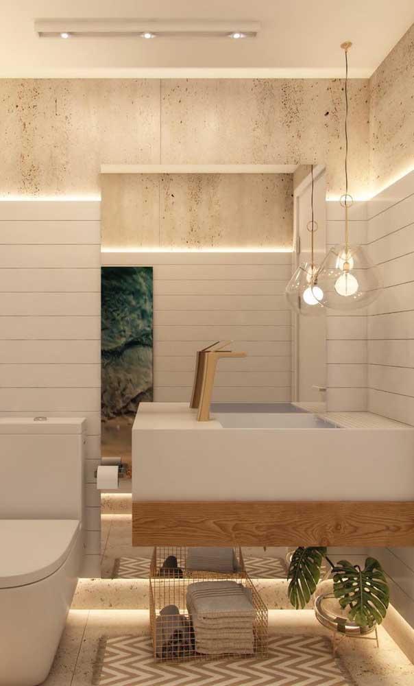 Capriche na iluminação do banheiro para destacar, ainda mais, o nanoglass.