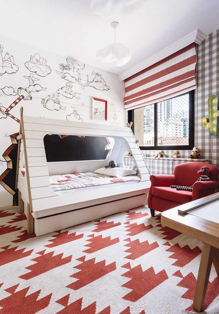 Olha esse quarto de bebê vermelho e branco lindo, delicado e sofisticado.