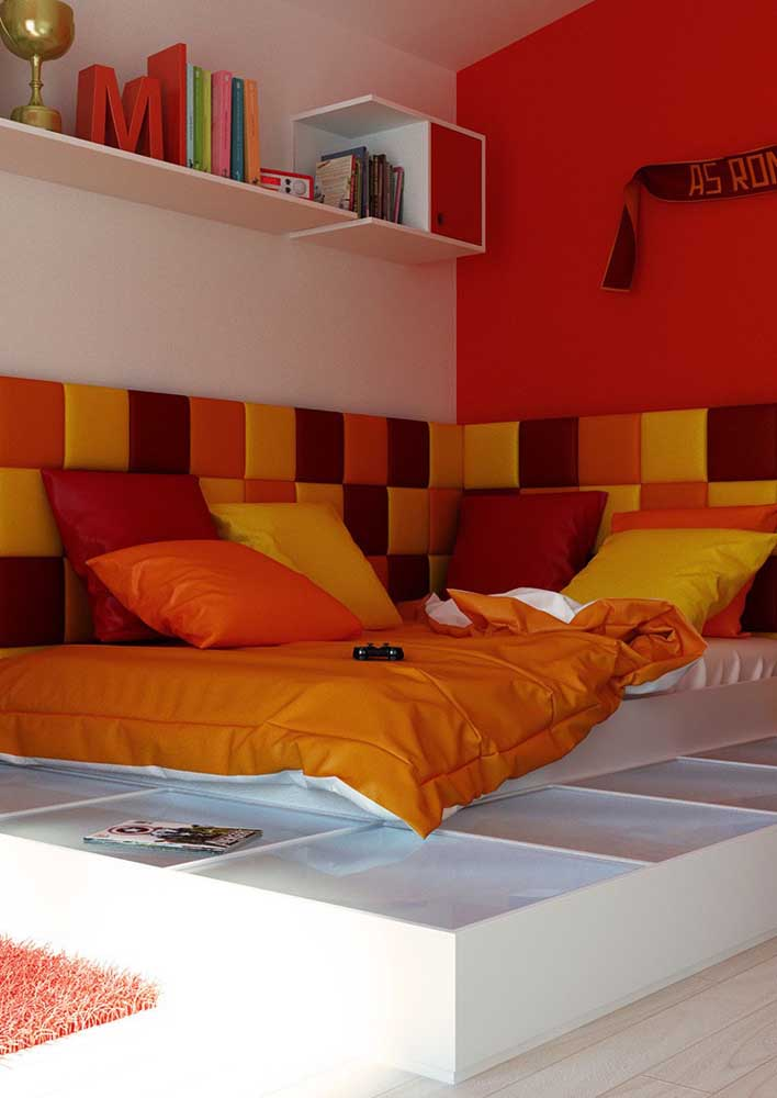 Que tal só misturar cores quentes na decoração do seu quarto?