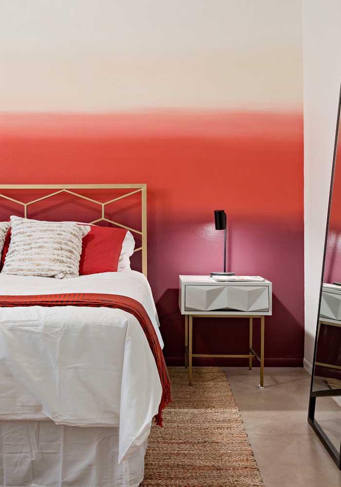 Olha que pintura linda para fazer na parede do quarto quando você não quer ousar com a cor vermelha.