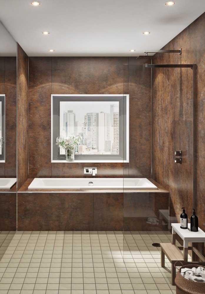 Olha que banheiro lindo, elegante e sofisticado.