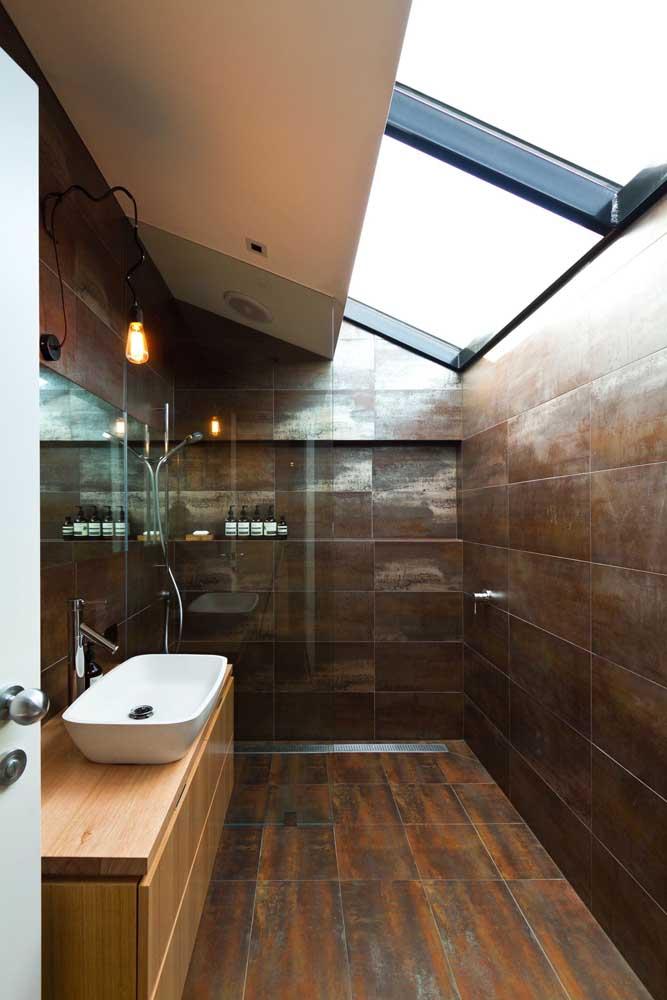 Que efeito aço corten mais interessante para usar na parede do banheiro.