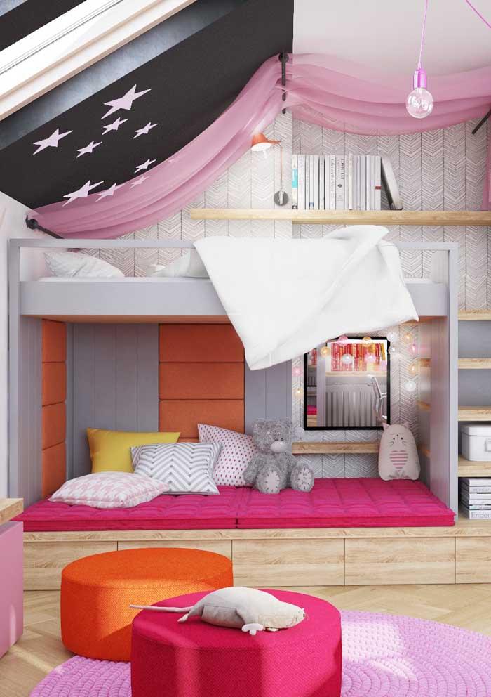 Almofadas nunca são demais em uma decoração, principalmente, no quarto das crianças.