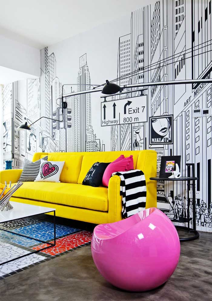 Quer deixar o seu apartamento mais moderno? Aposte em cores fortes e chamativas.