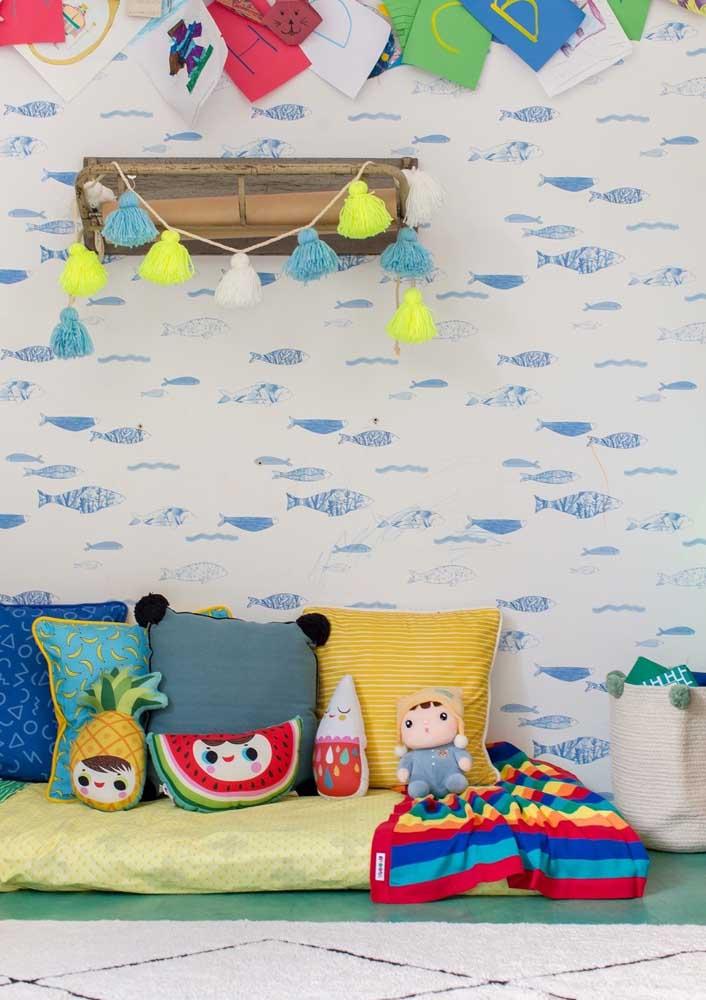 Almofada divertida infantil é perfeita para colocar no quarto das crianças e deixar o ambiente mais descontraído.