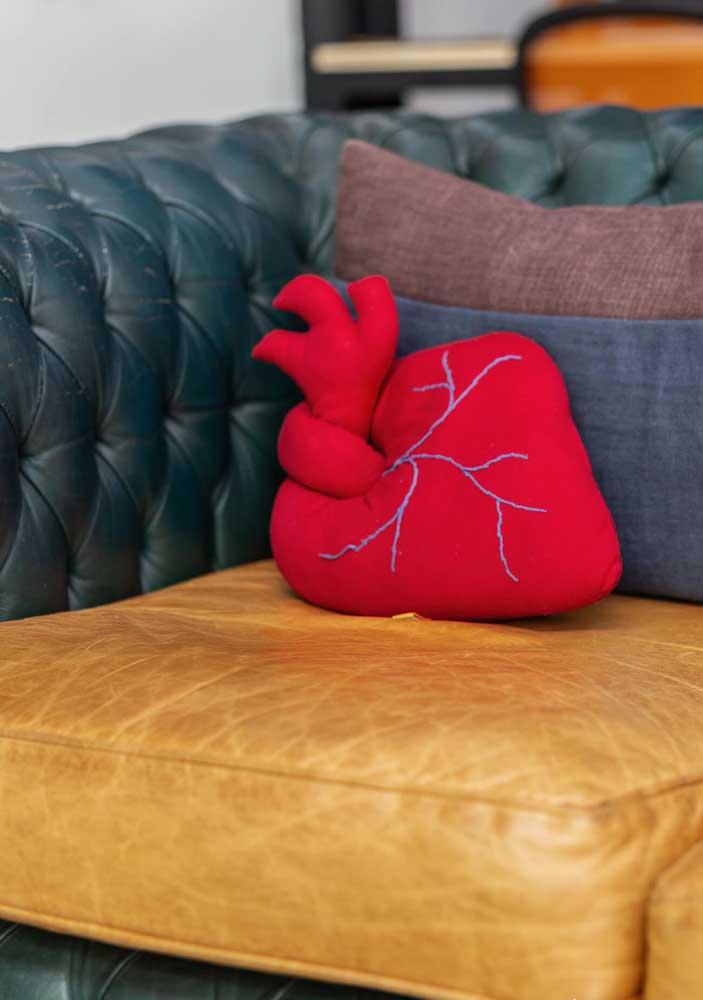 Olha que belo coração transformado em almofada divertida.