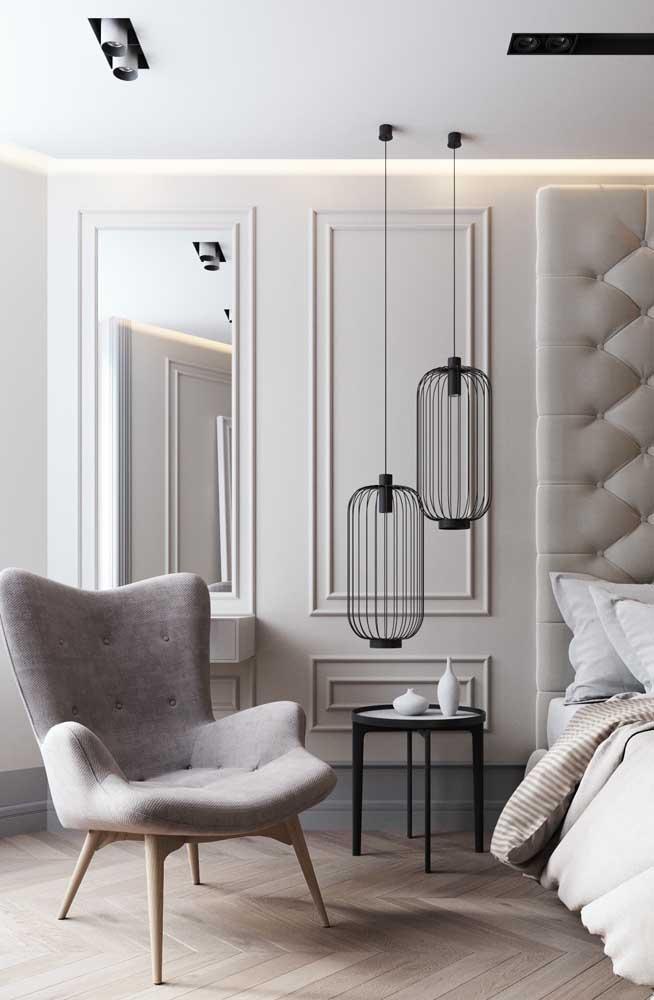 É incrível como o quarto com a moldura Boiserie fica mais fino e elegante.