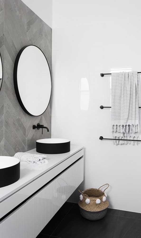 A cuba redonda deixa o banheiro mais lindo.