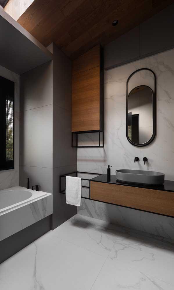 A cuba para banheiro oval ficou perfeita nessa decoração.