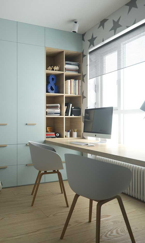 Você já pensou nessa escrivaninha com estante para quarto? Linda né?