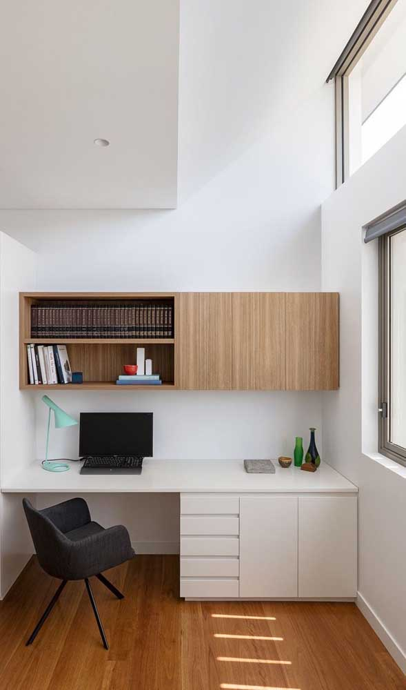 O mais bacana da escrivaninha planejada para quarto é que você pode encaixar no espaço que deseja.