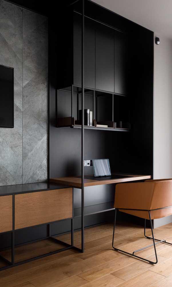 Que tal fazer algo mais moderno combinando cores escuras com móveis de madeira?