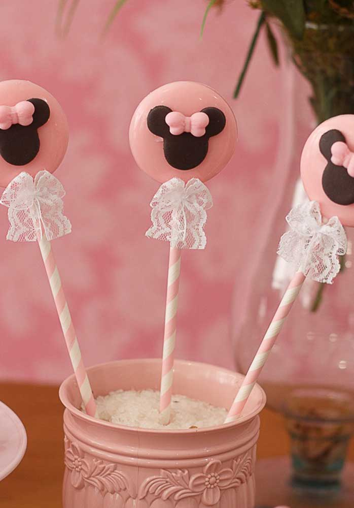 Veja que ideia de guloseima para a festa da Minnie rosa.