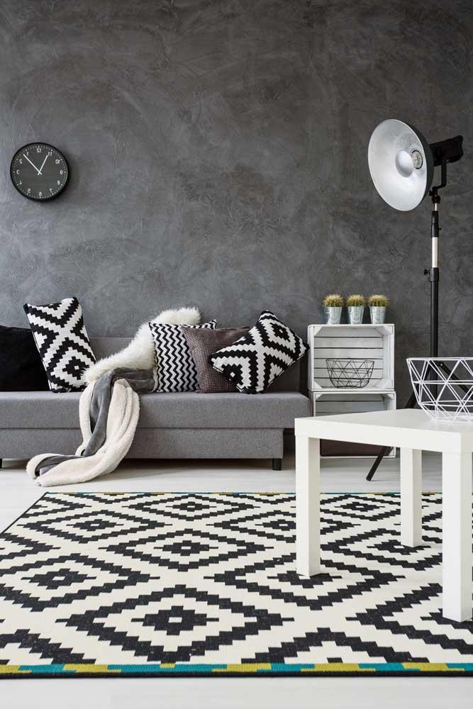 Que tal fazer uma decoração que combine cores como preto, branco e cinza?