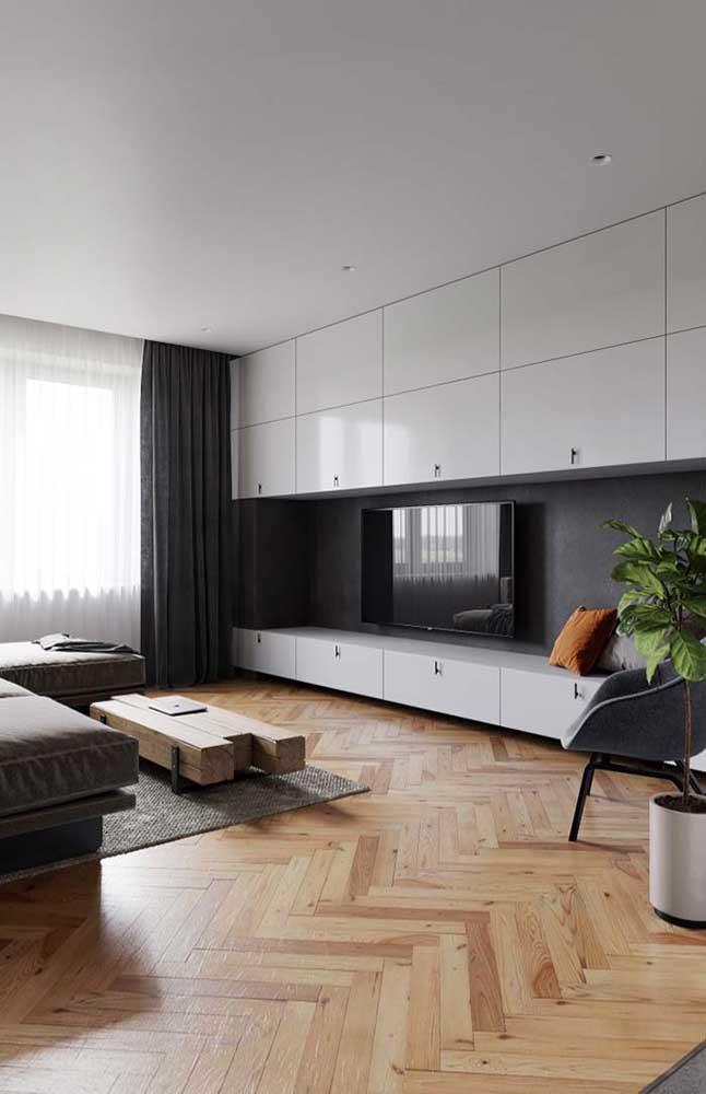 Que tal optar por um rack com design bem moderno para compor sua decoração?