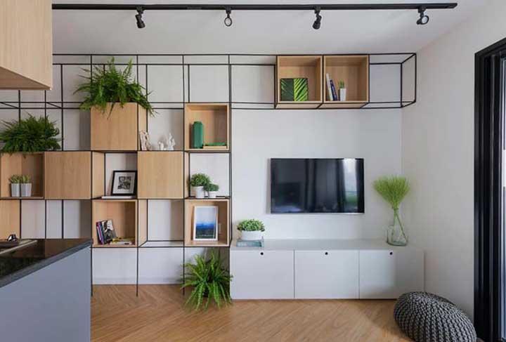 Olha como você pode combinar móveis, revestimentos, piso e teto.