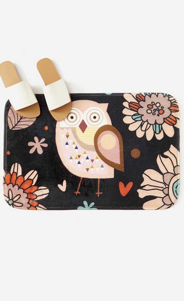 Use a criatividade na hora de fazer o tapete de coruja.