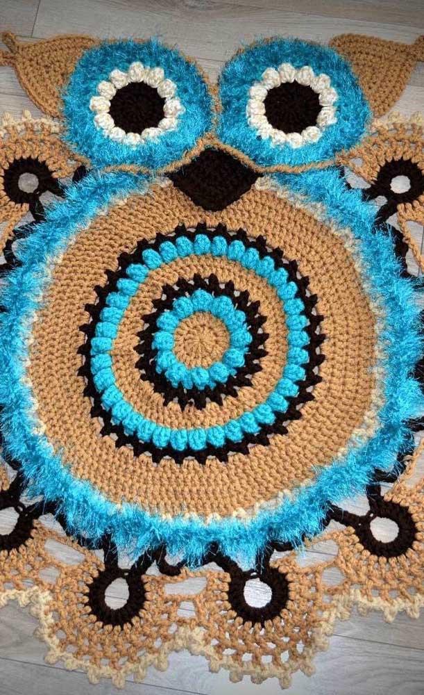Customize seu tapete de coruja com materiais diferenciados.