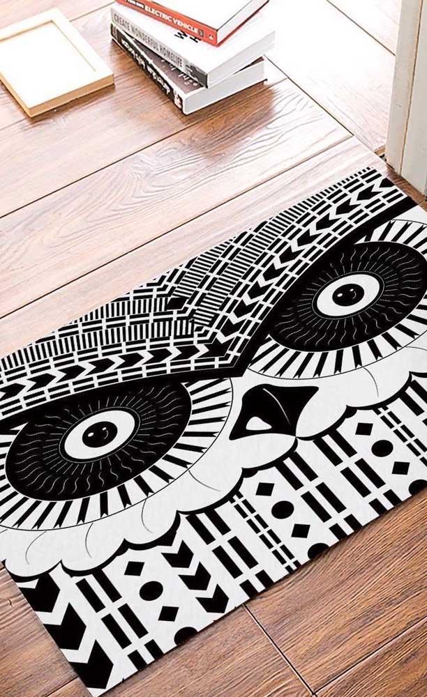 Veja que tapete de coruja grande perfeito para colocar na entrada da sua casa.