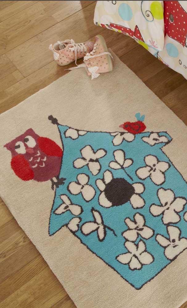 Mais uma opção de modelo de tapete de coruja para quarto, principalmente, os quartos infantis.