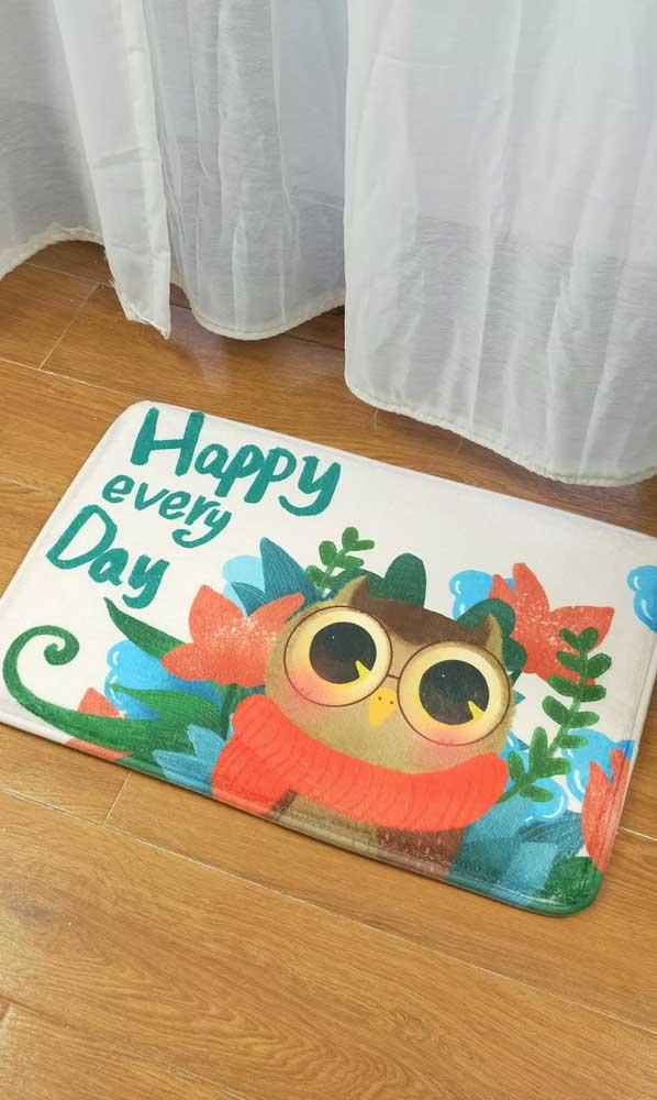 Não pode faltar o tapete de coruja para banheiro na decoração da sua casa.