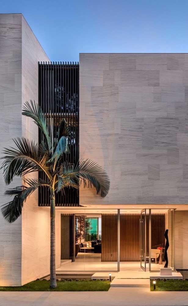 Veja como a palmeira se torna uma peça elegante na entrada da casa.