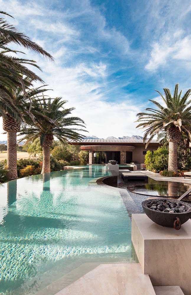 Veja como fica linda a área externa com várias palmeiras como peças paisagísticas.
