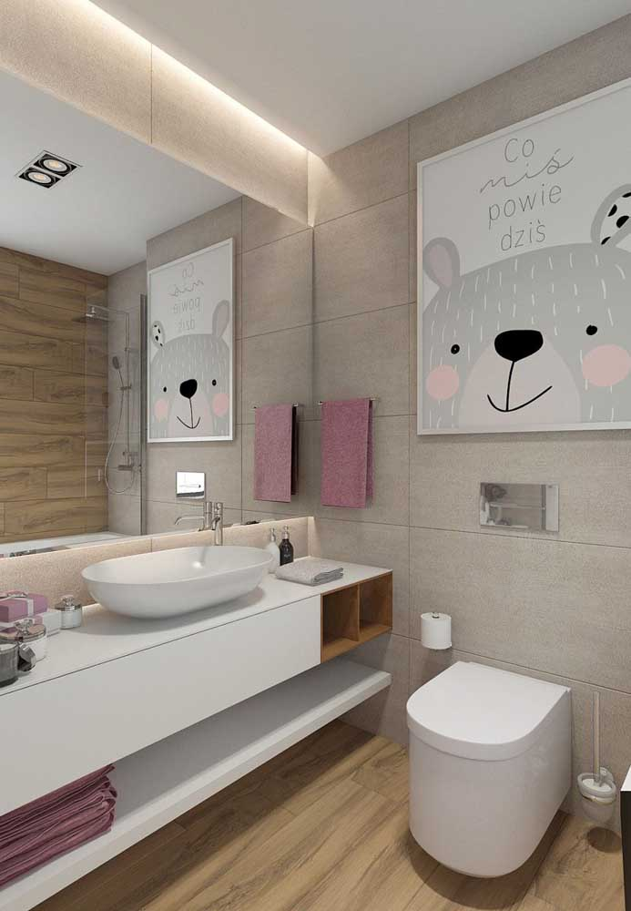 Que decoração mais fofa para o banheiro feminino infantil.