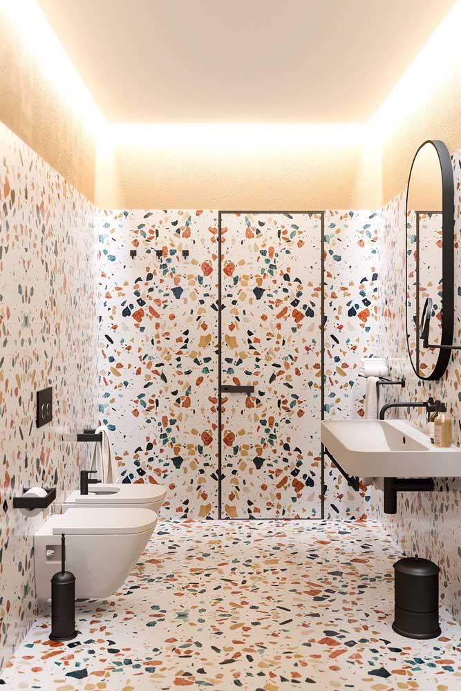Que tal fazer um banheiro feminino totalmente colorido?