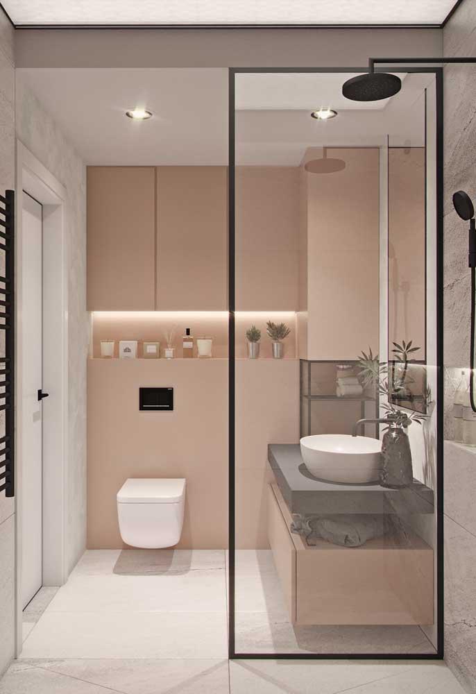 Que tal apostar em um banheiro mais clean e minimalista?
