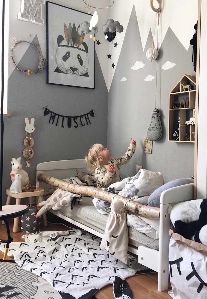 Olha como a cor cinza fica linda na decoração do quarto infantil.