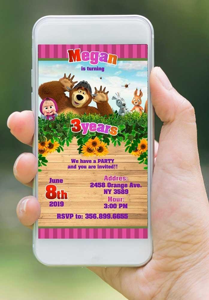 Já pensou como vai fazer o convite Masha e o Urso? Uma boa opção é fazer um convite digital e enviar pelo whatsapp.