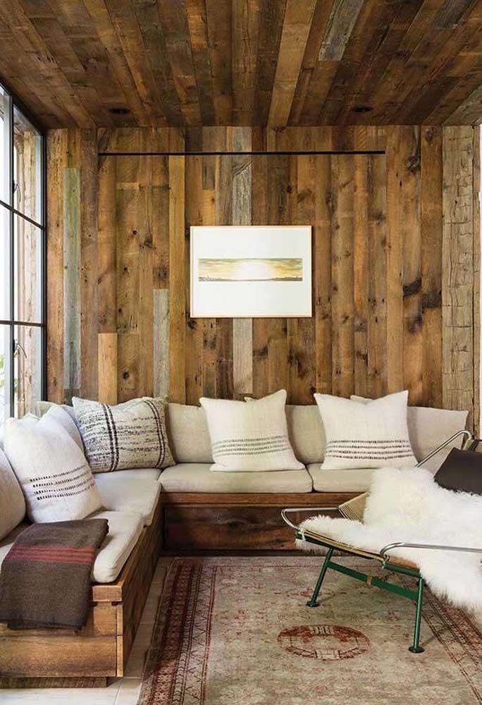 Ambiente perfeito para quem não abre mão de uma decoração rústica.