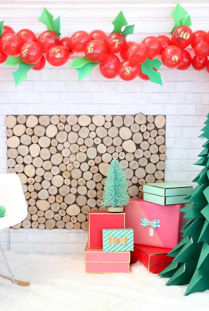 Você já pensou em fazer um painel de natal como esse inspirador?