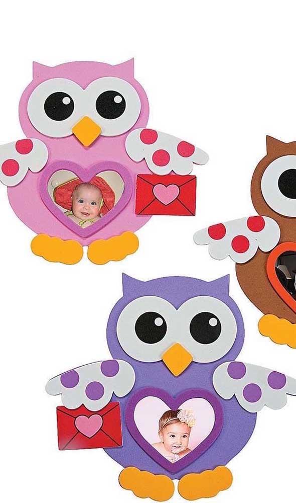 Mais uma opção fofa para porta retrato de EVA infantil.