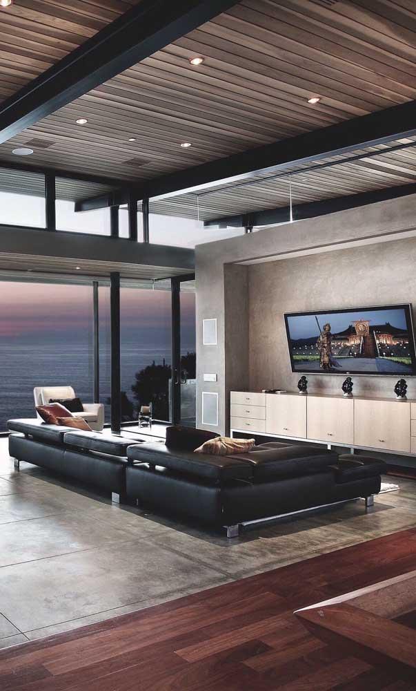 Que sala de TV mais moderna e sofisticada.