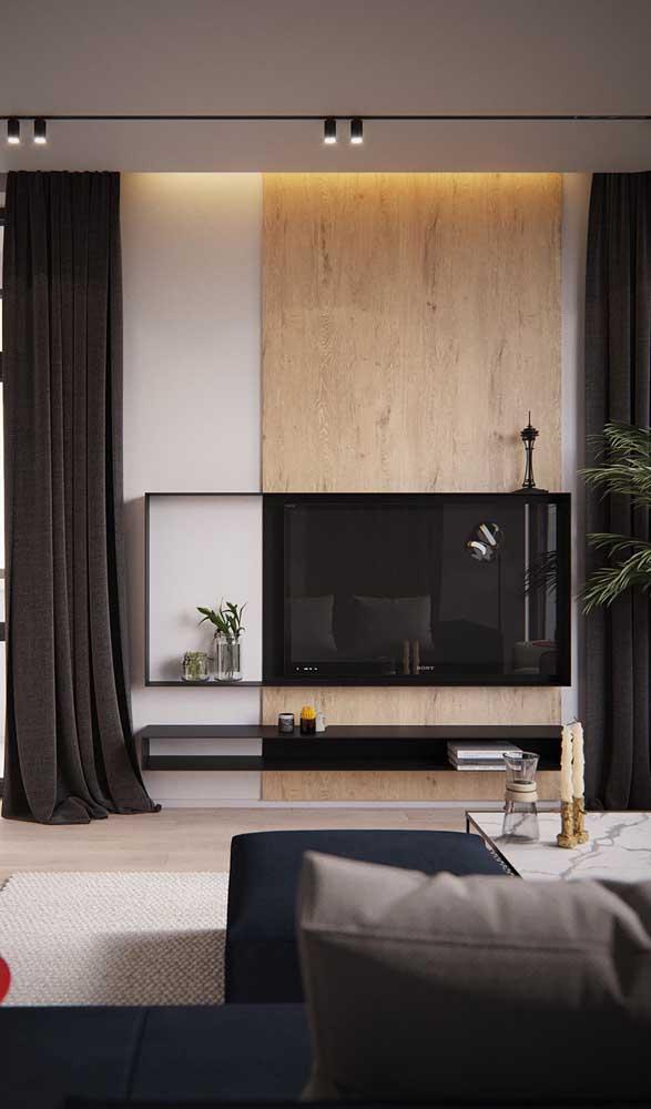 Outro modelo de sala de TV pequena, mas com bom aproveitamento do espaço.