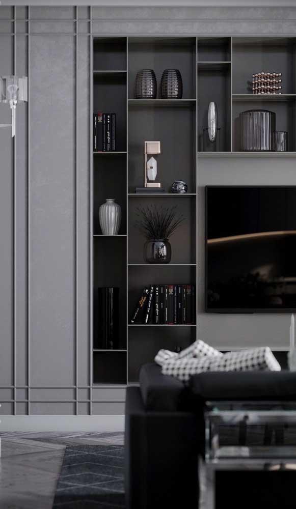 Você pode combinar cores mais escuras na decoração de sala de TV.