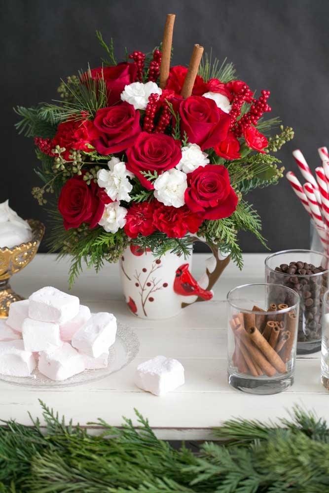 Olha como você pode fazer vários tipos de arranjos de natal para a mesa.