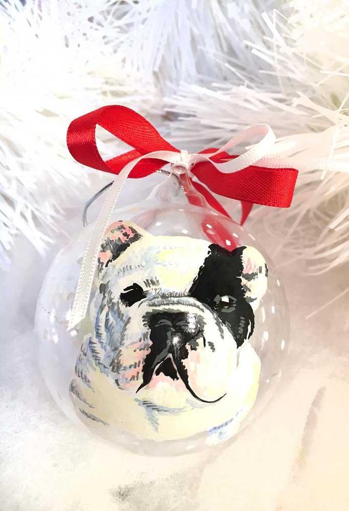 Olha que bola de natal mais fofa com a carinha do pet dentro.