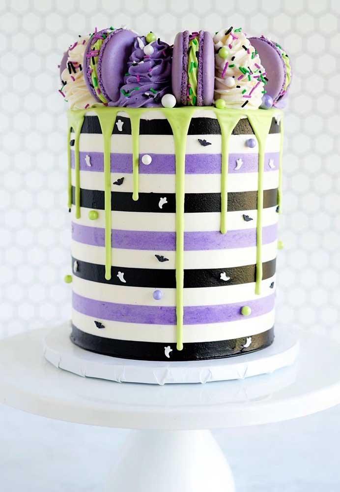 Olha como você pode decorar o topo de bolo halloween.