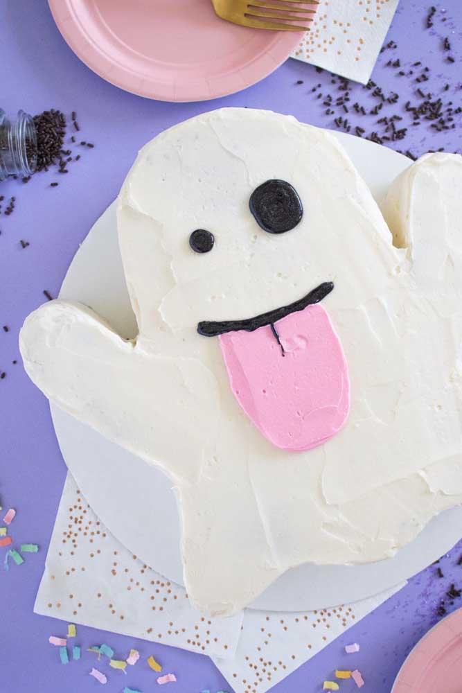 Ou quem sabe fazer um bolo halloween pasta americana no formato de fantasma.
