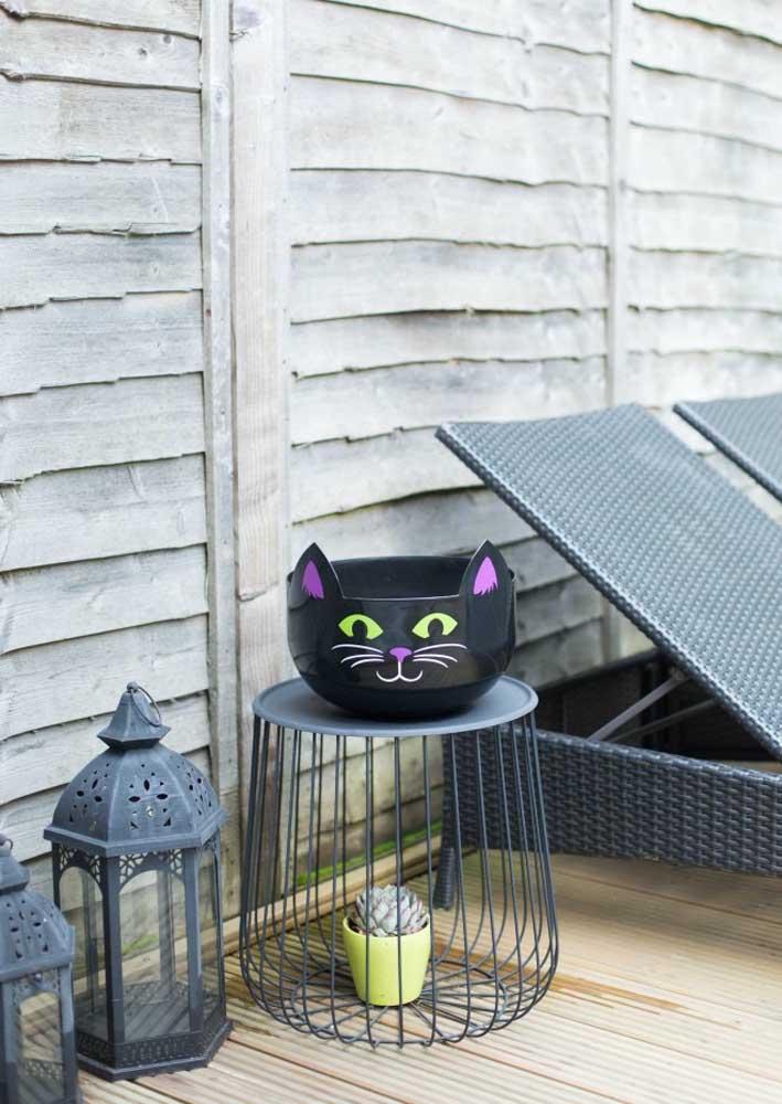 O gato preto não pode faltar na festa Halloween