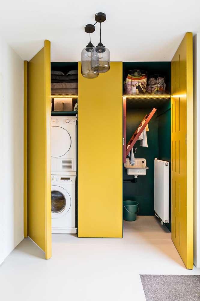 Pinte a área de serviço com cores fortes e chamativas, mas procure manter tudo em ordem.