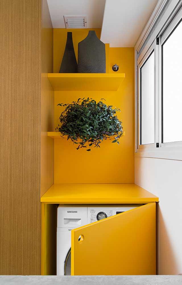 Que tal colocar um vaso com planta na área de serviço pequena para manter a natureza por perto?