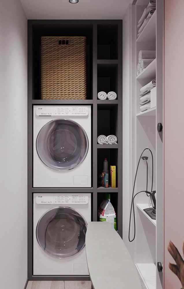 Na área de serviço você deve colocar a máquina de lavar, secar, a tábua de passar roupa e outros itens.